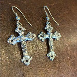 NWT Silver Cross Earrings